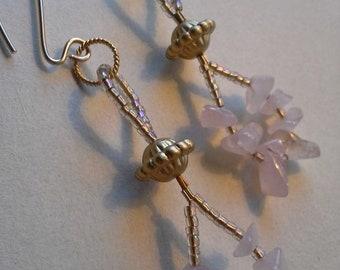 Handwerker-Rosenquarz und 14kt Gold gefüllt lange Ohrringe