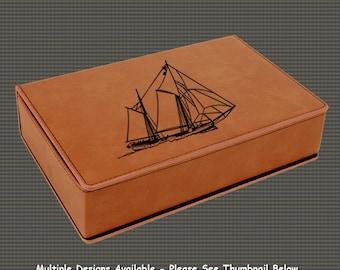 Leatherette Flask Gift Set - Sailboat Designs