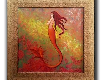 "Original Mermaid Art PAINTING / Original Art / Pop Surrealism Art / Oil on Board, 24"" x 24"" Art ""In the Sun ""by N. Prutski"