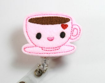 TEACUP felt badge reel, Felt badge holder, Pink tea cup badge holder, Felt lanyard