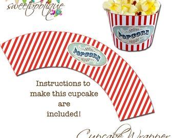 Popcorn Box Cupcake Wrapper - Carnival, Circus, Beach, Movie - Printable - DIY - Digital File - Wedding - INSTANT DOWNLOAD