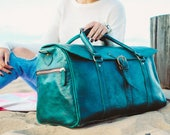 Leather Beach Bag Carry on Green Gym Bag Duffle Bag Large Leather Luggage Leather Holdall Carry All  Baggage Vegetable Tanned Full Grain