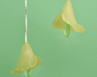 Vintage Yellow Lucite Flower Drop Earrings