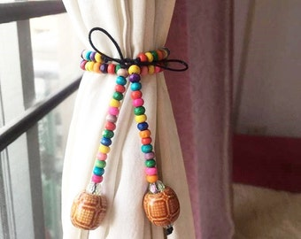 Pair of Handmade Curtain Tie Back Multi Color Wood Beads