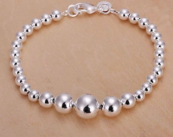 Ladies Silver plated beaded link Chain Charm  Bracelet + Bag
