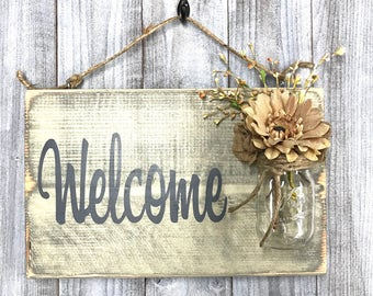 Front Door Sign, Rustic Welcome Sign, Welcome Guests Sign, Hanging Welcome Sign, Outdoor Sign, Outside Sign, Front Porch Sign, House Gift