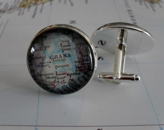 GHANA Map CUFFLINKS / groomsmen gift / Ghana Map Cuff Links / Custom map / map jewelry / Personalized gift / Gift for him / Gift boxed