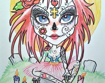 Fantasy Big Eye Day of the Dead Girl Art Print