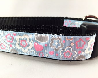 Dog Collar, Topaz Flowers, 1 inch wide, adjustable, quick release, metal buckle, chain, martingale, hybrid, nylon