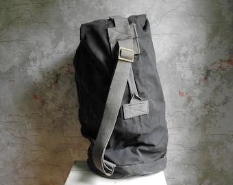 Vintage Canvas Duffel Bag , Heavy Duty Army Canvas Bag , Dark Grey Canvas Bag with Shoulder Strap , Military Duffle Bag