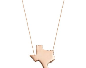 State Charm Necklace, State Jewelry, States Pendant necklace in 18k Rose Gold Plated 925 sterling silver