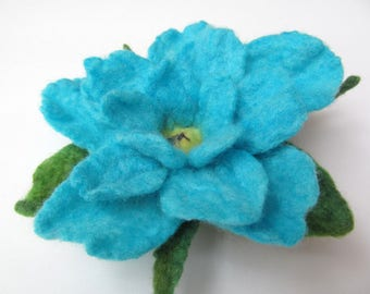 Turquoise and aqua wet felted flower pin
