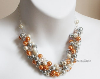 Wedding Necklace Bridesmaid Gift Bridesmaid Jewelry Gray Necklace Orange Necklace Chunky Jewelry Cluster Necklace Maid go Honor Gift for Her