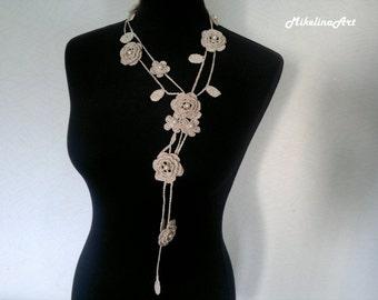 Crochet Rose Necklace,Crochet Neck Accessory, Flower Necklace, Ivory, 100% Cotton.