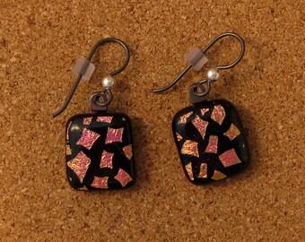 Dichroic Earrings - Fused Glass Earrings - Dichroic Jewelry - Fused Glass Jewelry - Black Earrings - Nickel Free Earrings - Niobium Earrings