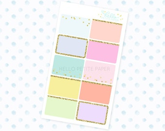 rainbow glitter half box stickers / 10 functional stickers for planners and journals