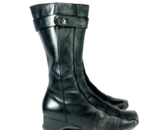 Minimal Leather Riding Boots 7 - Platform Leather Boots 7 - Tall Black Leather Boots 7, Biker Black Leather Boots 7 - Kenneth Cole Boots 7