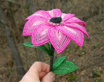 Fuchsia to Pink French Beaded Flower