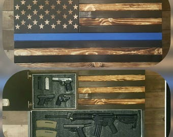 Burnt Thin Line Large Concealed Weapon Flag Cabinet