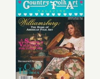 BTS Country Folk Art Magazine February 1993 Valentine, Quilting, Board Games