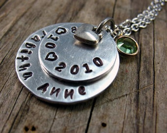 New Mom Necklace, Childs Name and Birth Date, Custom Hand Stamped, Mother's Day Gift, Gift for her, Name necklace, Grandama Necklace
