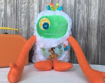 Handmade plush toy, Hug Monster, orange and green with squirrel pocket, friendly monster for kid, birthday gift, day care friend, softies
