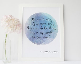 The Great Gatsby quote print - F Scott Fitzgerald - literary gifts - gifts for book lovers - literary quotes - literary print - literary art