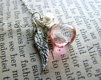 Guardian Angel Necklace - Memorial Passing Death - Wing Birthstone Sterling Initial  - Gift Best Friend Sister Girl Friend