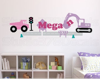 Girls Construction Set Vinyl Wall Decal | Transportation Decals | Pink Truck and Excavator | Personalized Name | Girl Nursery Wall Decals