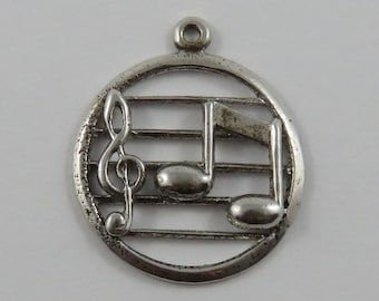 Music Treble Clef & 2 Eighth Notes Sterling Silver Vintage Charm For Bracelet