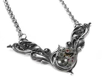 Steampunk Jewelry Necklace Silver Vintage Watch Floral in WOLFRAM FASHION Magazine WEDDING Anniversary Birthday Gift - Jewelry by edmdesigns
