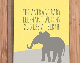 funny new baby card / elephant