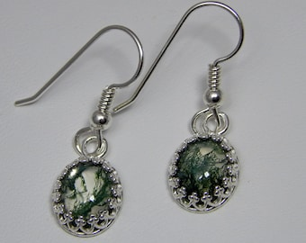 Moss Agate Doublet Earrings; Moss Agate and Crystal Quartz Earrings