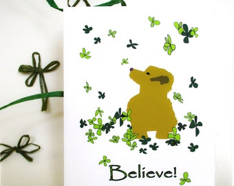 """Believe Inspirational  """"Luck is all around you """" Card - Golden Puppy -  Note Card - Donation to Madcap Charity"""
