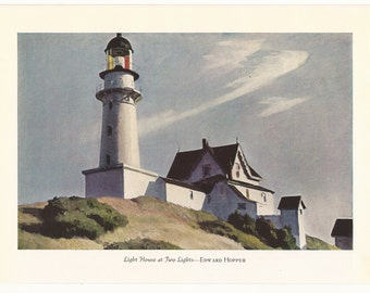 """Vintage 1940 Book Plate """"Light House at Two Lights""""  By EDWARD HOPPER"""
