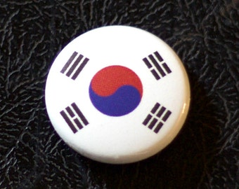 "1"" South Korea flag button, country, pin, badge, pinback, Made in USA"