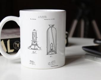 Antique Fire Extinguisher 1880 Patent Mug, Firehouse, Fireman Gift, Firefighter Decor, Restaurant Decor, PP0461