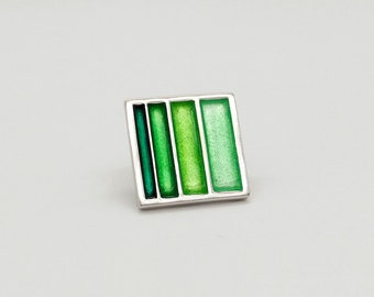 Geometric Style Brooch with Green Stripes - Transparent Vitreous Enamel on Sterling Silver - French Design and Savoir-Faire