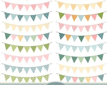 Bunting Flags Clipart Bunting Clip Art Garland Clipart Polka Dot Chevron Stripes Rustic Wedding Invitations Scrapbooking Digital Banner Flag
