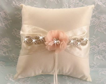 Wedding Ring Pillow Ring Bearer Pillow Shabby Chic Vintage Ivory and Cream Custom Colors too