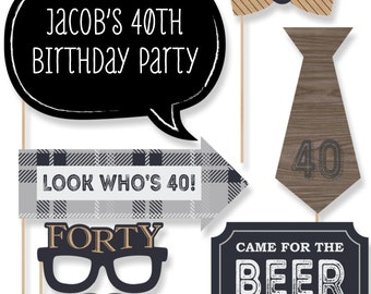40th Milestone Birthday - Aged to Perfection Party Photo Booth Props - Custom Birthday Party Photobooth Kit - 20 Pieces
