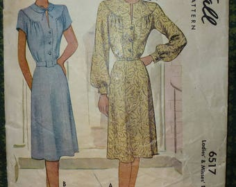 Vintage 1940's McCall's Pattern 6517 Misses Dress with Gathered Yoke and Buttoned Front Closure Size 16 Bust 34