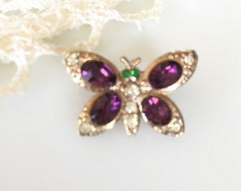 Little Vintage Colored Rhinestone Butterfly Scatter Pin Brooch