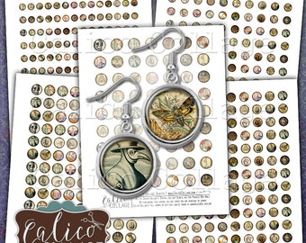 Macabre, Digital Collage, Images for Earrings, 10mm Circles, 12mm Circles, 14mm Circles, 16mm Circles, 18mm Circles, 10mm Collage Sheet