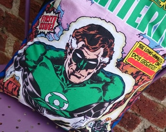 Green Lantern DC comic book 16 Pillow Cushion Cover Upcycled Tshirts Eco