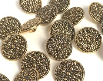 gold buttons, metallic buttons, plastic buttons, metalised plastic, round buttons, vintage buttons, 15mm buttons, shirt buttons
