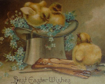 U/S Ellen Clapsaddle Top Hat Filled With Forget-Me-Nots and Chicks Antique Easter Postcard