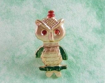 1 Vintage Owl Pin - Novelty Old Stock Never Used Owl Pin - 1950s     (DR-010)