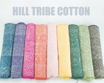 Hmong Hill Tribe Fabric - Handwoven Handspun Batik Plant Dyed Cotton Textile, Rustic Table Runner, Indigo Dye Hill Tribe Fabric, Yellow Blue