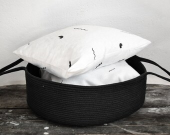 Cotton rope basket, Rope basket, Storage basket, Large basket, Black basket, Woven basket, Laundry basket